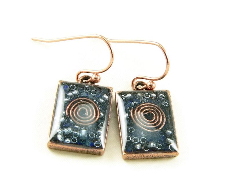 Orgone Energy Earrings  Lapis Lazuli Gemstone Small Dangle image 0