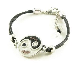 Orgone Energy Bracelet - Yin Yang Leather Friendship Bracelet - Choose Your Stone/Color Combination - Natural Gemstones - Artisan Jewelry