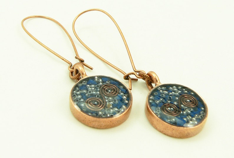 Orgone Energy Earrings  Long Dangle Earrings  Lapis Lazuli image 0