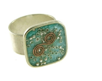 Orgone Energy Ring with Turquoise - Medium Square Cocktail Ring - Adjustable Ring - Orgone Energy Jewelry - Artisan Jewelry