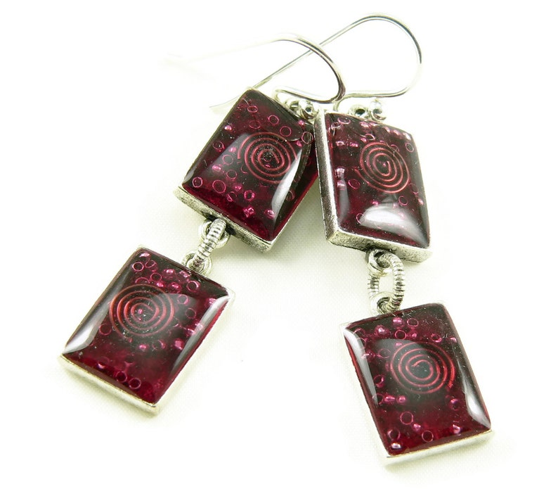 Orgone Energy Earrings  Red Garnet Gemstone Dangle Earrings  image 0