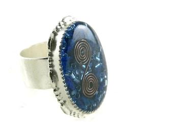Orgone Energy Ring with Lapis Lazuli - Statement Ring - Cocktail Ring - Adjustable Ring - Orgone Energy Jewelry - Artisan Jewelry