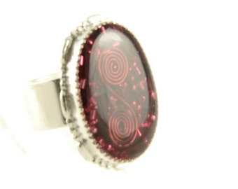 Orgone Energy Ring with Red Garnet - Statement Ring - Cocktail Ring - Adjustable Ring - Orgone Energy Jewelry - Artisan Jewelry