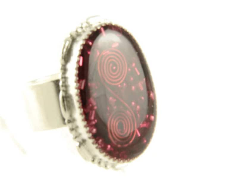 Orgone Energy Ring with Red Garnet  Statement Ring  Cocktail image 0