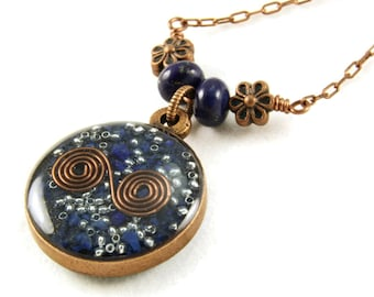 Orgone Energy Small Reversible Pendant in Copper with Lapis Lazuli Gemstones - Orgone Jewelry - Artisan Jewelry