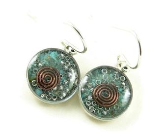 Orgone Energy Earrings - Turquoise Gemstone - Small Dangle Earrings - Positive Energy Generator - Artisan Jewelry