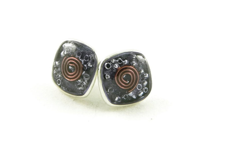 Orgone Energy Post Earrings in Antiqued Silver Squares with image 0