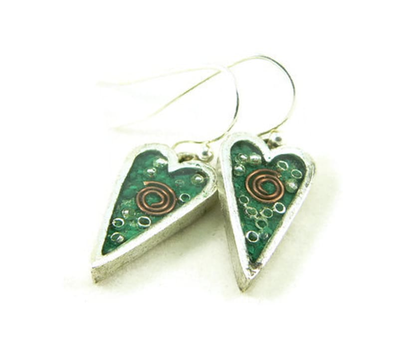 Orgone Energy Earrings  Small Primitive Heart Dangle Earrings image 0