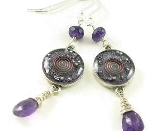 Orgone Energy Gemstone Dangle Earrings - Purple Amethyst Gemstone -  Sterling Silver - Positive Energy Generator - Artisan Jewelry