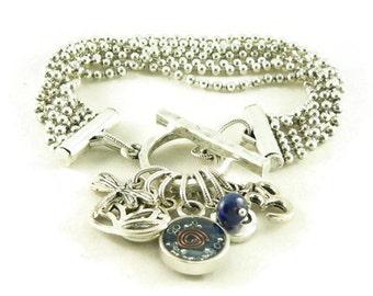 Orgone Energy Multi Strand Zen Charm Bracelet in Antique Silver with Lapis Lazuli-Meditation Bracelet-Orgone Energy Jewelry-Artisan Jewelry