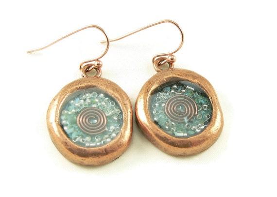 Orgon-Energie-Wachs-Siegel aussehen Ohrringe in Kupfer mit Türkis - baumeln  Ohrringe - Orgon-Energie-Schmuck - Handwerker Schmuck 99edf69dea