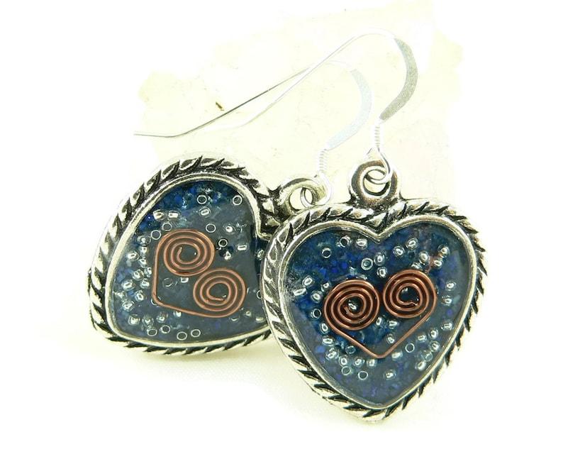 Orgone Energy Earrings  Ornate Heart Dangles  Lapis Lazuli image 0