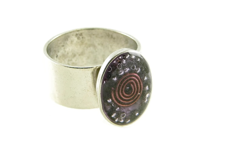 Orgone Energy Ring with Purple Amethyst  Small Oval Cocktail image 0