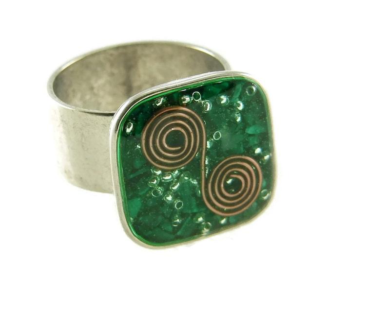 Orgone Energy Ring with Malachite  Medium Square Cocktail image 0