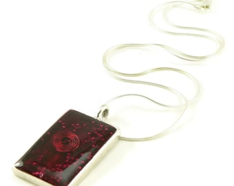 Orgone Energy Pendant - Antique Silver Rectangle w/Garnet Gemstone - Unisex Necklace - Men's Necklace - Energy Jewelry - Artisan Jewelry