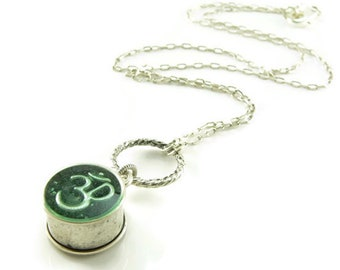 Orgone Energy Small Reversible Pendant Necklace in Antique Silver Finish with Malachite and Om Symbol - Orgone Jewelry - Artisan Jewelry