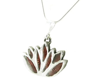 Orgone Energy Small Lotus Flower Pendant Necklace with Sterling Silver Chain - Choose Your Stone/Color - Artisan Jewelry