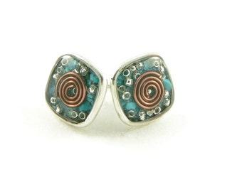 Orgone Energy Post Earrings in Antiqued Silver Squares with Turquoise Gemstone - Simple Earrings - Orgone Energy Jewelry - Artisan Jewelry