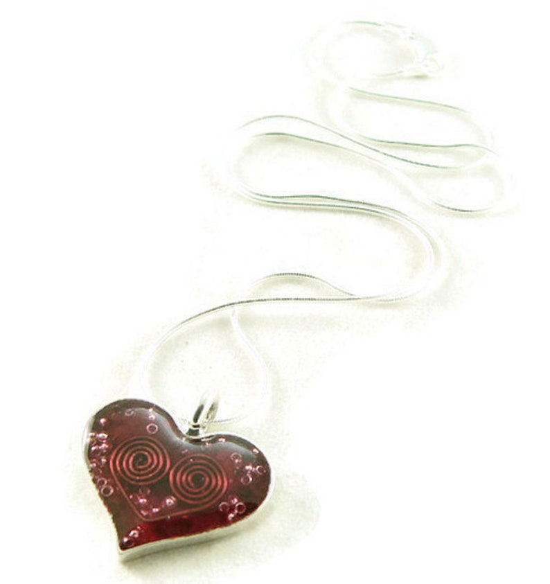 Orgone Energy Small Heart Pendant in Sterling Silver with Red image 0