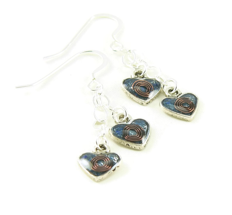 Orgone Energy Earrings  Tiny Heart and Sterling Silver image 0