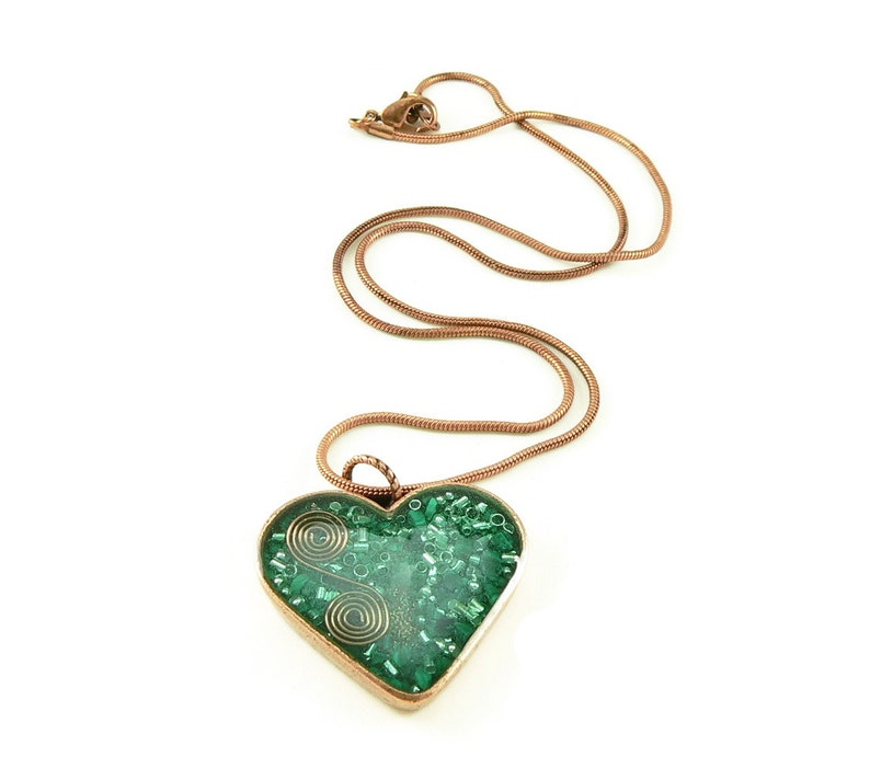 Orgone Energy Pendant  Copper Heart with Malachite Gemstone  image 0