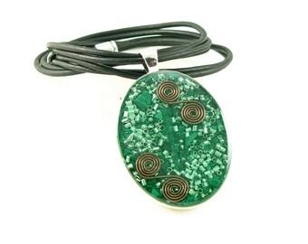 Orgone Energy Pendant - Large Silver Oval with Malachite Gemstone - Leather Necklace - Orgone Jewelry - Celebrity Gift - Artisan Jewelry