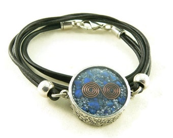 Orgone Energy Necklace - Mens Necklace - Double Sided Pendant w/Lapis Lazuli Gemstone - Leather Necklace - Unisex Necklace - Artisan Jewelr