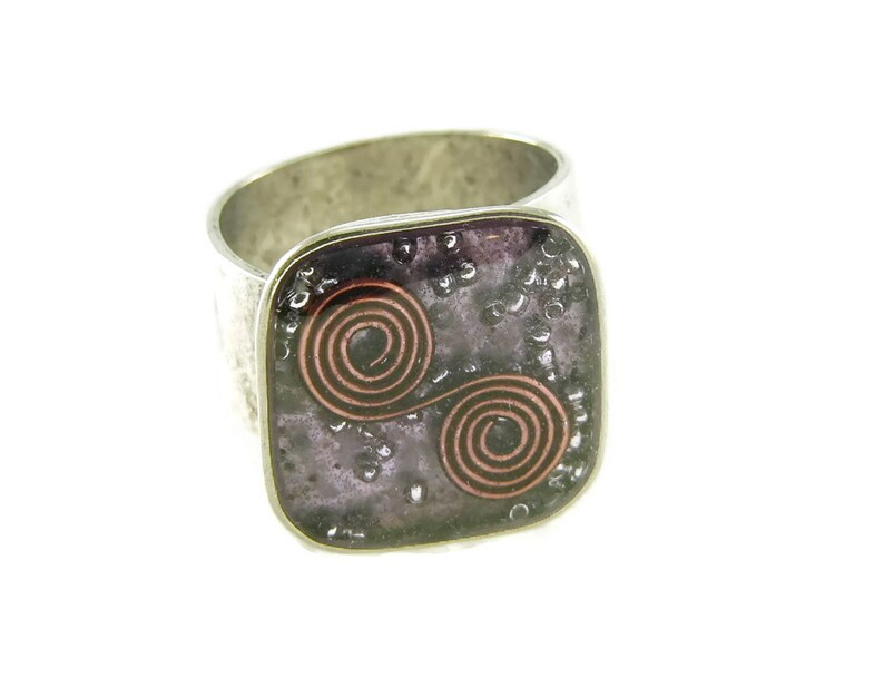 Orgone Energy Ring with Purple Amethyst  Medium Square image 0