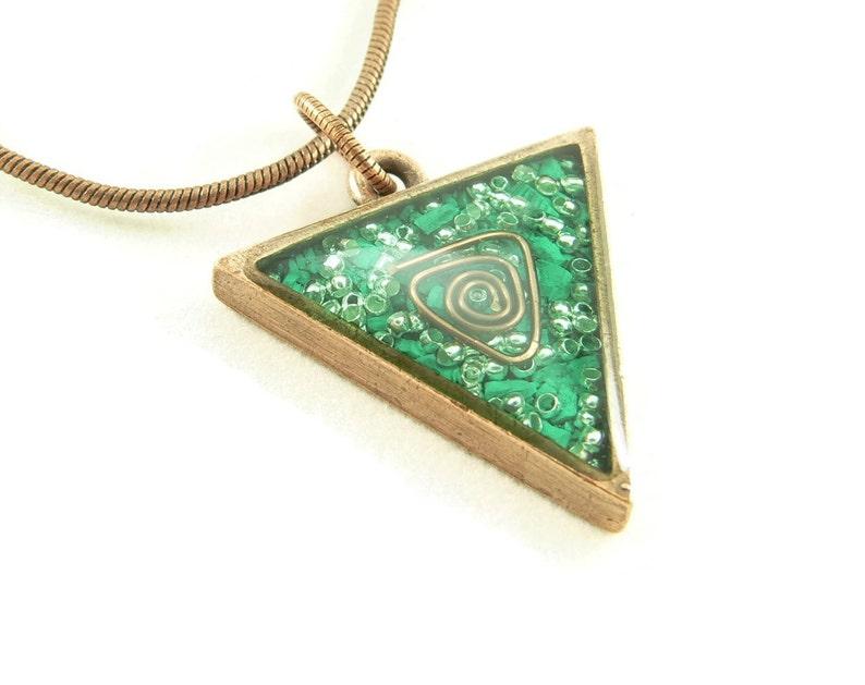 Orgone Energy Triangle Pendant in Copper with Malachite  image 0