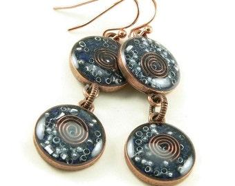 Orgone Energy Earrings - Lapis Lazuli and Copper Gemstone Dangle Earrings - Positive Energy Generator - Artisan Jewelry