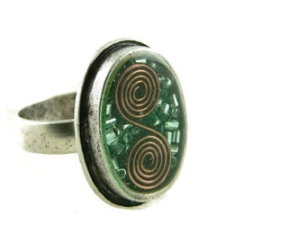 Orgone Energy Ring with Malachite - Framed Oval Cocktail Ring - Adjustable Ring - Orgone Energy Jewelry - Artisan Jewelry