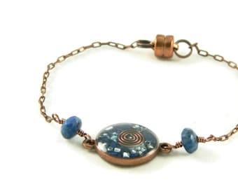 Orgone Energy Petite Stacking Bracelet in Antique Copper Circle with Lapis Lazuli Gemstone - Delicate Bracelet - Orgone Energy Jewelry