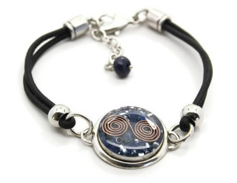 Orgone Energy Bracelet  Leather Friendship Bracelet  Lapis image 0