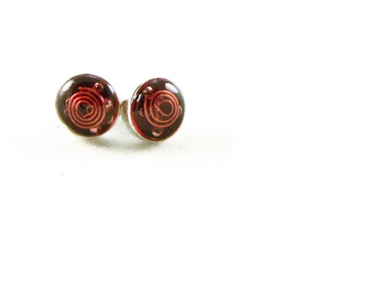 Orgone Energy Tiny Circle Post Earrings  Stud Earrings  Red image 0