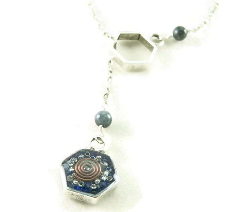Orgone Energy Honeycomb Lariat Necklace in Antique Silver image 0