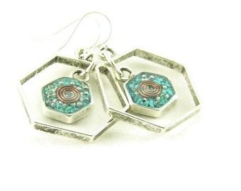 Orgone Energy Honeycomb Framed Earrings with Turquoise Gemstone - Drop Earrings - Gemstone Earrings -Orgone Energy Jewelry - Artisan Jewelry