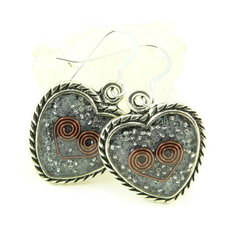 Orgone Energy Earrings  Ornate Heart Dangles  Amethyst image 0