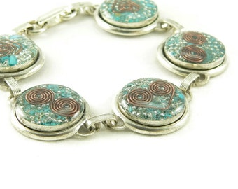 Orgone Energy Circle Link Bracelet in Antique Silver with Turquoise Gemstone - Artisan Jewelry - Orgone Energy Jewelry