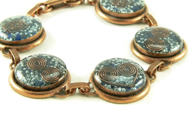 Orgone Energy Circle Link Bracelet in Copper with Lapis Lazuli image 0