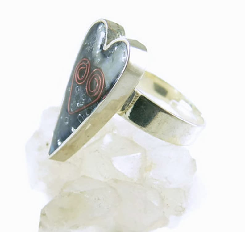 Orgone Energy Ring  Primitive Long Heart Ring  Adjustable image 0