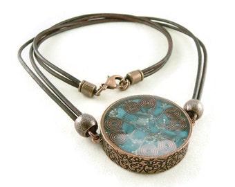 Orgone Energy Mens/Unisex Necklace - Large Double Sided Pendant - Antiqued Copper w/Turquoise Gemstone - Leather Necklace - Artisan Jewelry