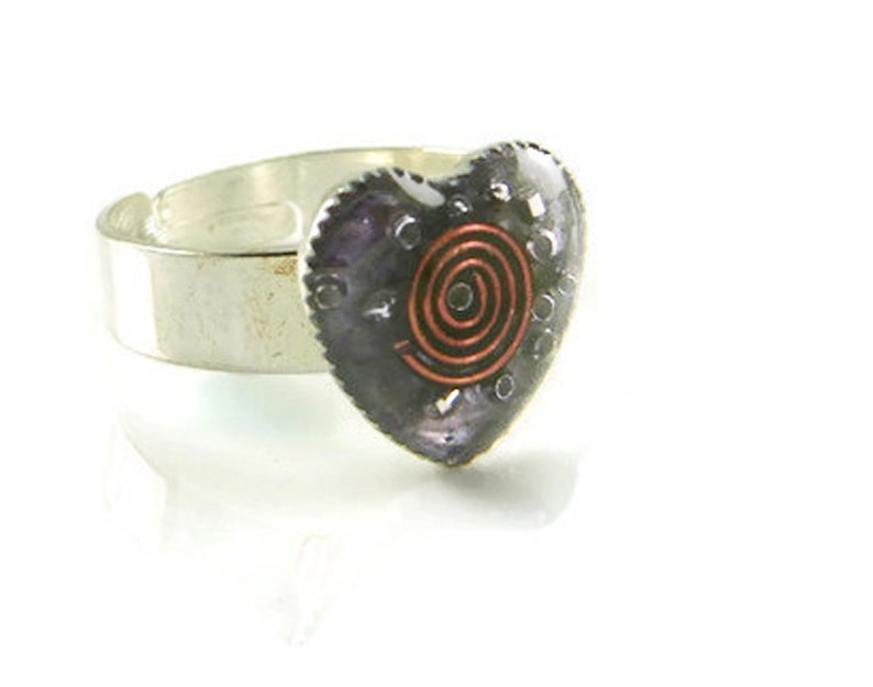 Orgone Energy Ring  Valentine Heart Ring  Cocktail Ring  image 0