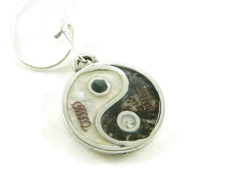 Orgone Energy Small Yin-Yang Pendant Necklace in Black and image 0