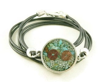 Orgone Energy Necklace - Mens Necklace - Double Sided Pendant w/ Turquoise Gemstone - Leather Necklace - Unisex Necklace - Artisan Jewelry