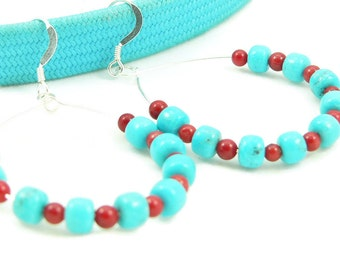 Turquoise and Red Coral Large Hoop Earrings - Native American Inspired - Artisan Jewelry