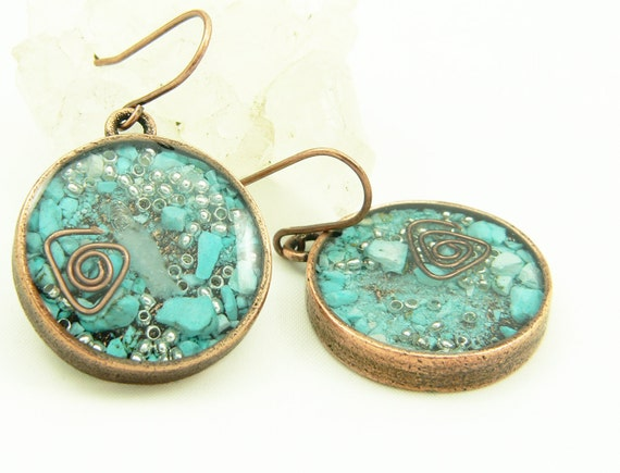 Orgone Energy Long Dangle Earrings Orgone Energy Jewelry Geometric Shapes in Antique Copper with Turquoise Gemstone Artisan Jewelry