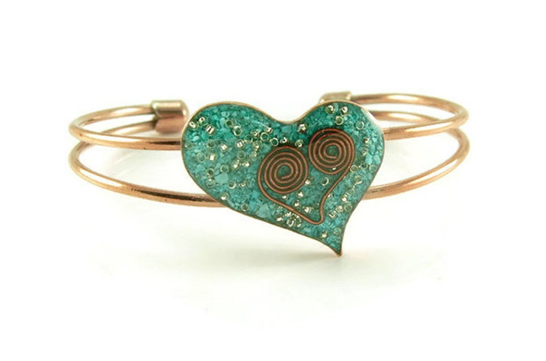 Orgone Energy Contemporary Heart Copper Cuff Bracelet with image 0