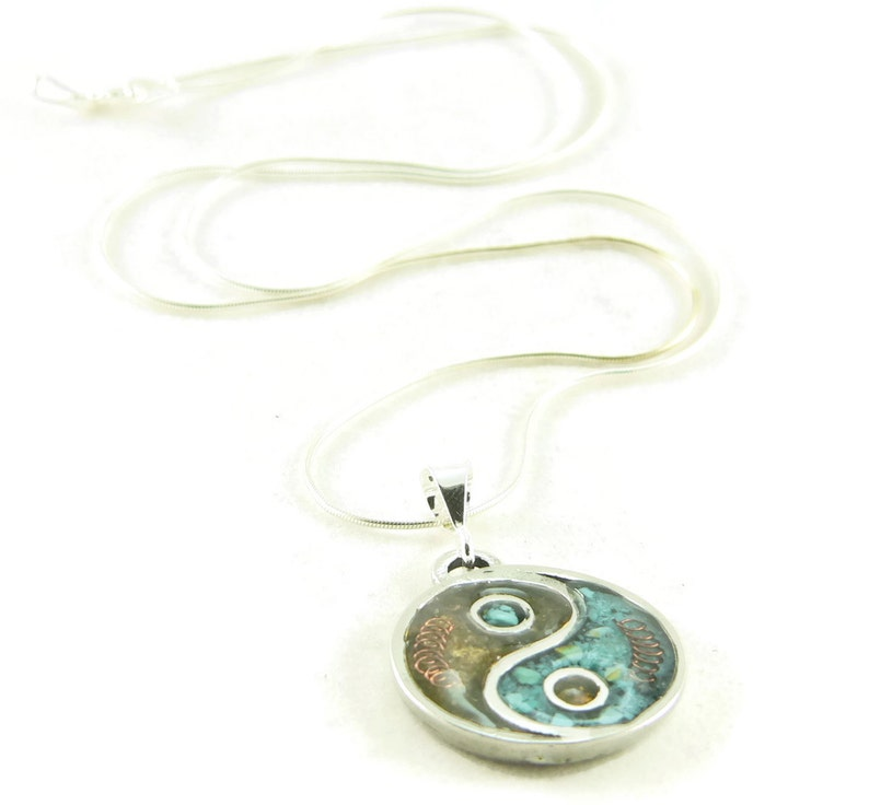 Orgone Energy Small Yin-Yang Pendant Necklace in Turquoise and image 0
