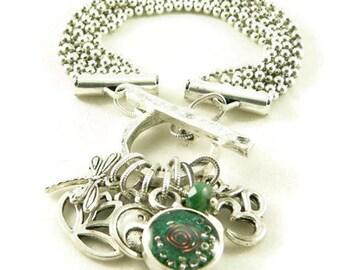 Orgone Energy Multi Strand Zen Charm Bracelet in Antique Silver with Malachite-Meditation Bracelet-Orgone Energy Jewelry-Artisan Jewelry