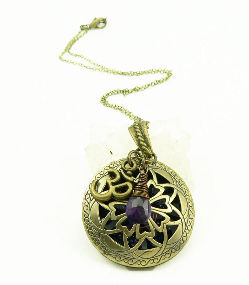Orgone Energy Locket  Antique Bronze  Celtic Flower Filigree image 0